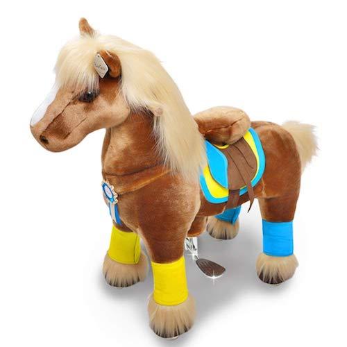 Das Ponycycle Pferd mit Rollen ist ein Plüschpferd zum Reiten auf Rollen. Ein Spielzeug Pferd für kleine Haflinger-Fans.