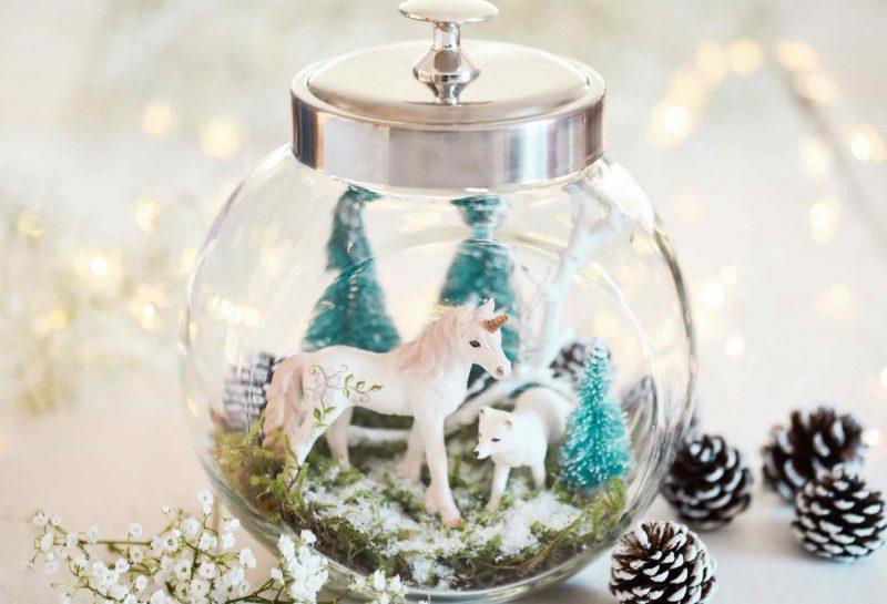 Weihnachtsdeko selbstgemacht, Weihnachten DIY, Basteln mit Kindern, Winterlandschaft im Glas, Adventsbasteln