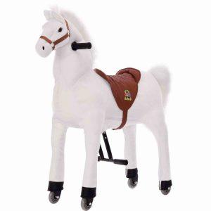 Schimmel Pferd mit Rollen zur echten Fortbewegung, ein schönes Plüschpferd zum Reiten.