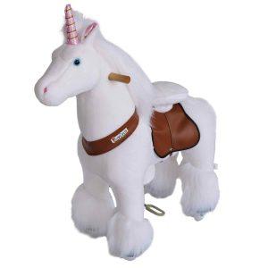 Einhorn Plüschpferd auf Rollen von Ponycycle in der Größe Medium für Kinder zwischen 4 und 9 Jahren