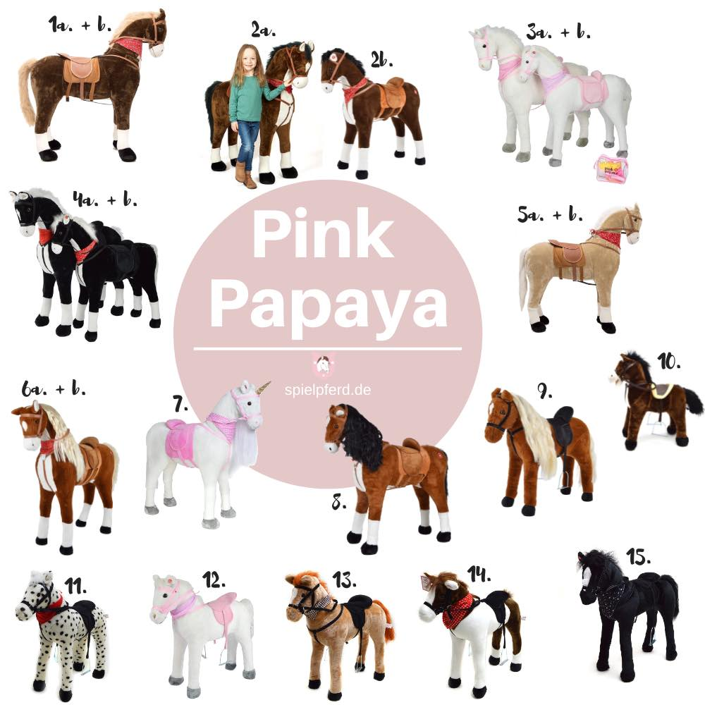 Pink Papaya Spielzeugpferd, Pferd, Plüschpferd XXL, Stehpferd XXL, Spielpferd zum Reiten
