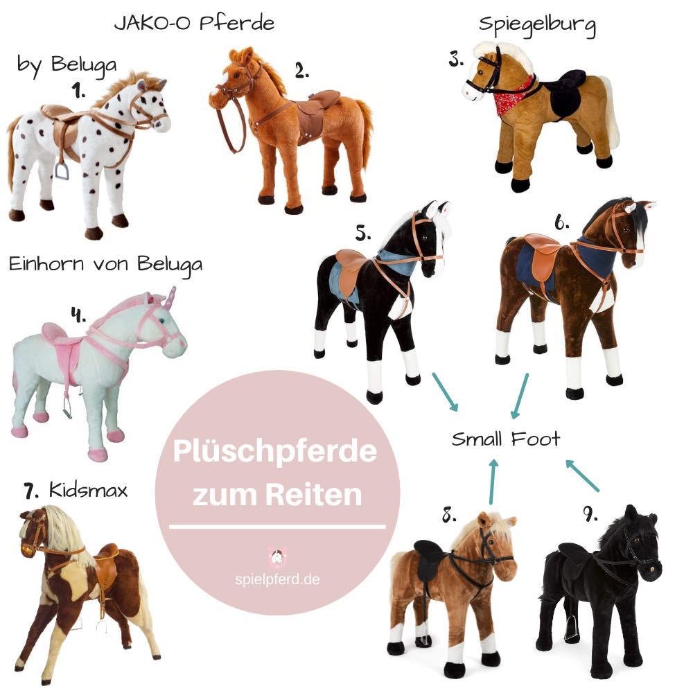 Stehpferd, Plüsch Einhorn, Plüschpferde verschiedener Marken.