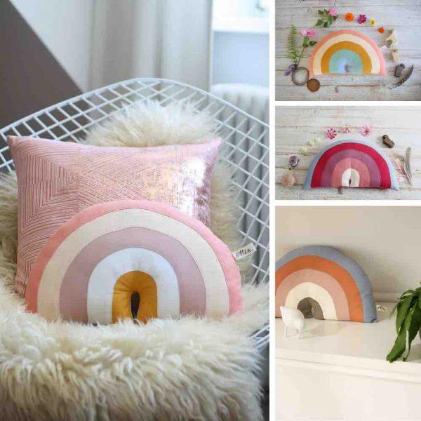 Regenbogen Kissen von FräuleinOtten, eine schöne Dekoration für das Kinderzimmer.