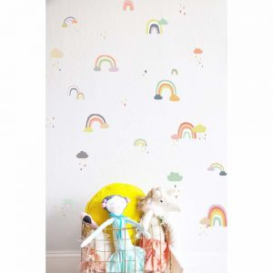 Wandtattoo Regenbogen Wolke für das Kinderzimmer. Wunderschöne Kinderzimmer Dekoration für Regenbogen-Fans.