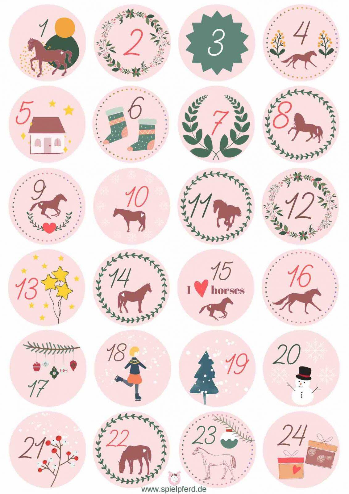 Adventskalenderzahlen Vorlage für kleine Pferdefans zum Ausdrucken. Zahlen für den Adventskalender kostenlos als pdf-Druckvorlage downloaden. Adventskalender basteln für Kinder.