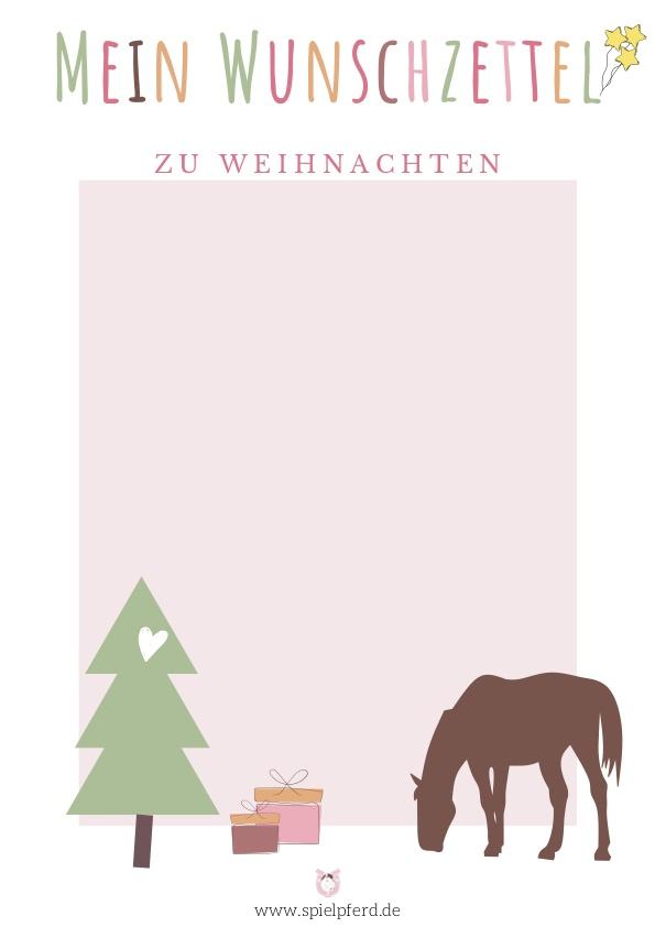 Wunschzettel Weihnachten zum Ausdrucken. Wunschzettel-Vorlage für kleine Pferdefreunde. Weihnachtsgeschenke für Kinder, die Pferde lieben. Geschenkideen für Pferdeliebhaber / Pferdefans.