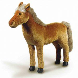 Haflinger Plüschpferd-zum-Reiten von Steiner. Stehpferd groß für Kinder. Spielzeug Pferd für kleine Pferdefreunde.