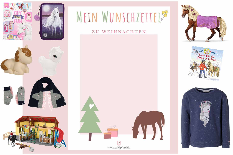 Wunschzettel Weihnachten zum Ausdrucken und Weihnachtsgeschenke für Pferdefreunde. Geschenkideen für Mädchen und Jungen, die Pferde mögen. Pferde Spielzeug etc.