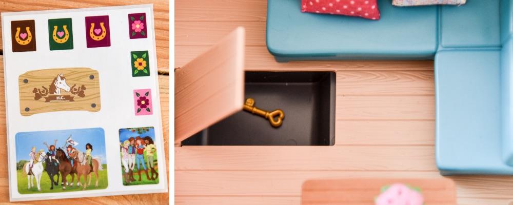 Das Geheimfach vom Schleich Wohnwagen 42415, in dem sich ein geheimnisvoller Schlüssel befindet.