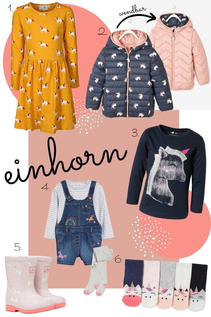 Einhorn Kindermode für den Herbst und Winter. Kleid, wendbare Jacke, Rock, Gummistiefel, Langarmshirt mit Einhorn-Motiv für Kinder.