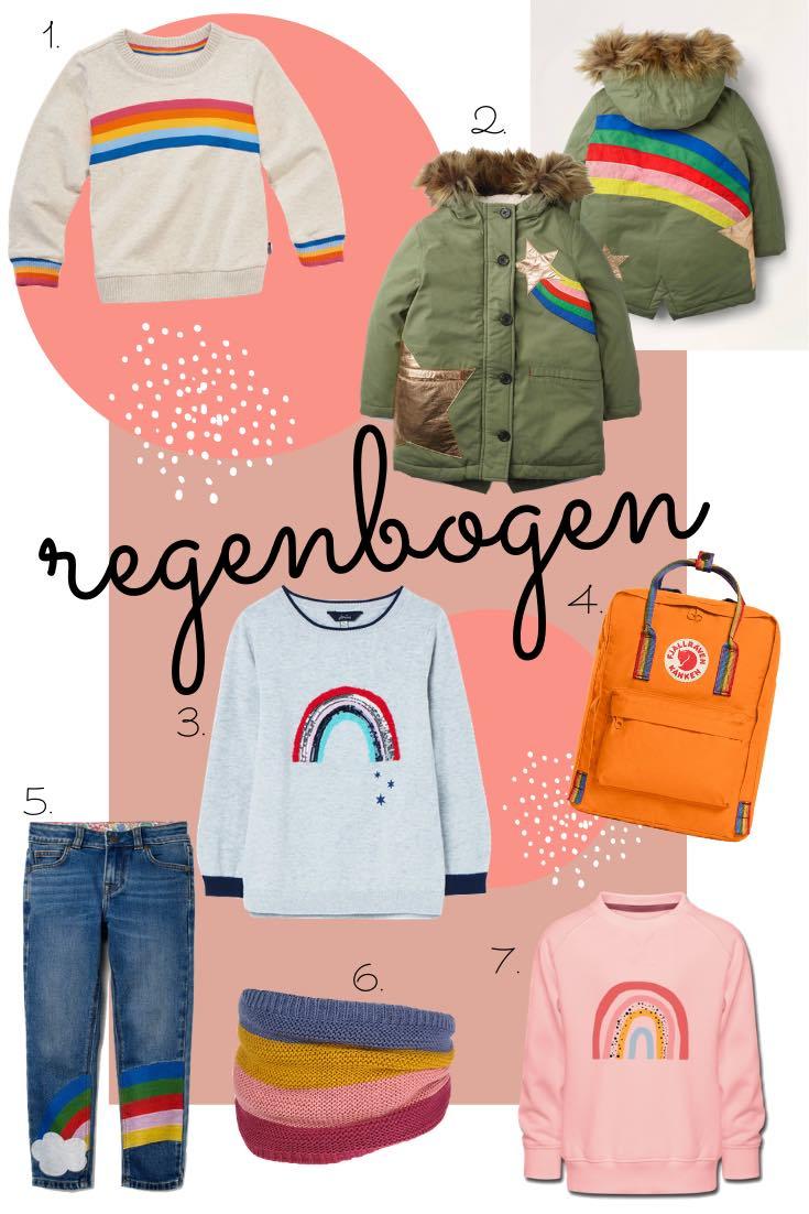 Regenbogen Kindermode für den Herbst und Winter 2020. Sweatshirt, Parka von Mini Boden, Fjällräven Rucksack und Jeans mit Regenbogen-Motiv für Kinder.