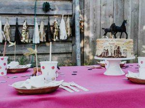 Pferdeparty-Box für Kinder: Einladungskarten, Kuchen-Deko und Mitgebsel für die perfekte Pferde Geburtstagsparty.