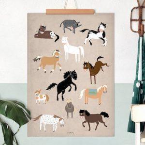 Pferdeposter für kleine Pferdefreunde. Kinderzimmer Dekoration für Pferdefans.