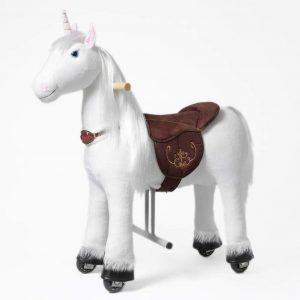 Einhorn auf Rollen Merlin von Ponnie, Größe S für Kinder zwischen 3 und 6 Jahren.